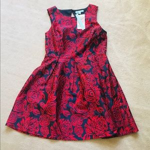 She + Sky  Rose  Print Ted/ Navy Key Hole Dress L